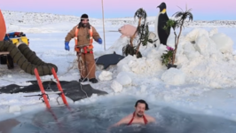 Antarctic Expeditioners Take Icy Cold Dip for Winter Solstice