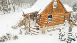 First Snow At The Off Grid Log Cabin - Winter 2019