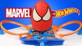 Spiderman Superhero Kinder Play-Doh Surprise Egg With Marvel Hot Wheels Cars And Race Track