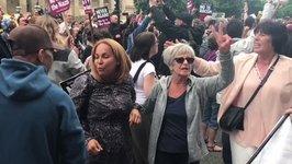 Anti-Fascist Liverpool Demonstrators Sing, Cheer as EDL March Halted