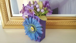 Dollar Tree Purple And Blue Flower Box  Upcycle Crafts