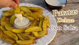 Las Mejores Patatas Deluxe Caseras con Salsa - Como hacer Patatas Gajo al Horno con Salsa Deluxe