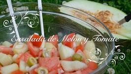 Ensalada de Melon y Tomate Rapida y Facil -Ensalada con Melon-Cocina facil y rapida