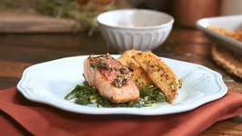 Chimichurri Pan Seared Salmon  Crispy Potatoes, Sauteed Garlic Spinach