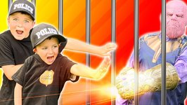 Avengers Thanos Goes To Jail! Superhero Vs Police Kids Showdown