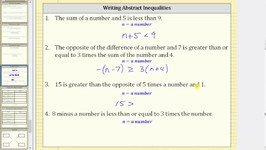 Writing Inequalities from Statements (Abstract)