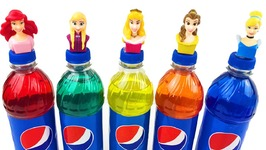 Disney Princess Pepsi Bottles Ariel Frozen Rainbow Learning Colors Finger Family Song Wrong Heads