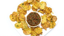 Maru Bhajias With Chutney - Crispy Kenyan Potato Thins Air Fryer Video Recipe