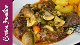 Carrilleras de ternera con verduras para dieta