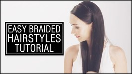 2 Easy Braided Hairstyles Tutorial - Braid Bun And Headband Braid