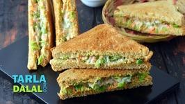 Carrot Green Peas Creamy Sandwich - Creamy Toast Sandwich
