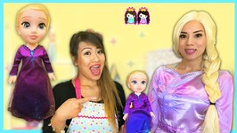 Disney Frozen 2 Elsa in Real Life Make Up and Dress Up Play at Pretend Hair Salon