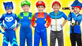 NEW Costume Runway Show PJ Masks Catboy Gekko Paw Patrol Chase Marshall Rubble Mario Luigi Pokemon