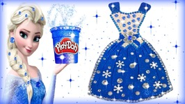 Play Doh Making Colorful Sparkle Disney Princess Frozen Elsa Dress Modelling Clay Toys for Kids