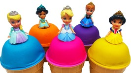 Play Doh Disney Princess Baby Ice Cream Cinderella Ariel Surprise Toys Learn Colors