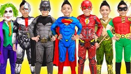Superheroes Kids Costume Runway Show Superman Dress Up Fun Batman Dc Justice League Halloween Flash