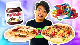 WEIRD PIZZA CHALLENGE With Wasabi Marshmallow Bananas