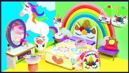 DIY Miniature Unicorn Dollhouse Bedroom For Barbie -  Make A Miniature Unicorn Room - Accessories