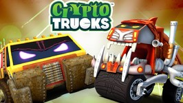 Reverse Race - Cryptotrucks - Truck Videos For Toddlers - Sasquash Vs Funky - Truck Racing