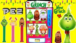 THE GRINCH MOVIE Pez Candy Machine Game w/ Grinch Ornaments, Pez Dispensers & Surprise Toys