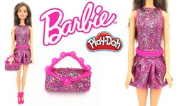 Play Doh Sparkle Barbie Princess Super Glitter Dress Outfit Making Doll Clothes Toys For Kids