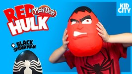 Giant Red Hulk And Black Spiderman Play-Doh Surprise Eggs With Doctor Strange Toy Unboxing