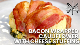 Bacon Wrapped Cauliflower With Cheese Stuffing / Low Carb Keto Recipe