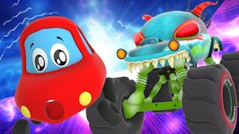 Lost In Space - Little Red Car Vs Haunted House Monster Truck Cartoons For Kids