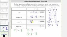 Determine Equivalent Equations Given x  a (4 Operations) Ex 2