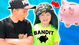Pretend Play Piggy Bank Bandit Vs Police Kid Showdown