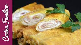 Rollos de pan de molde con jamón y queso paso a paso