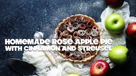 Homemade Rose Apple Pie With Cinnamon And Streusel