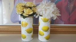 MOD PODGE NAPKINS  DOLLAR TREE VASE  DIY CENTERPIECE
