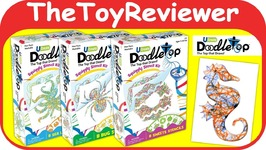 Doodletop Stencil Kits Bugs Dessert Sea Life Doodle Tops Color Unboxing Toy Review