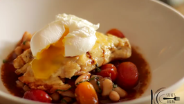 Parmesan Chicken With Baby Heirloom Stew And Poached Egg