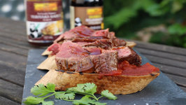 Teriyaki Flanksteak Bruschetta