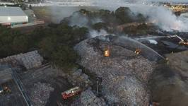 Drone Footage Shows Stubborn Fire At Melbourne Recycling Plant