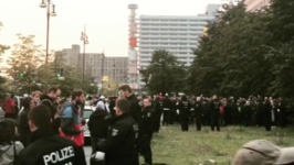 Anti-AfD Protesters Gather Outside Party Celebrations in Berlin's Alexanderplatz