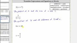 Translate Basic Expressions And Equations To Words
