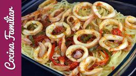 Espaguetis con calamares y verdura - Recetas para dieta. Recetas caseras