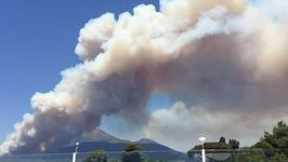Smoke Billows From Wildfire on Mount Vesuvius
