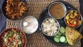 Easy Veg Indian Thali -Karva Chauth Special -Karva Chauth Thali Ideas