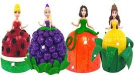 Play Doh Sparkle Fruit Vegetable Dresses For Disney Princess Dolls Elsa Snow White Belle