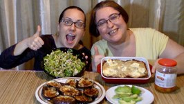 Enchilada Casserole, Lettuce Salad, Ginger Eggplants And Avocado -Gay Family Mukbang