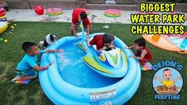 BIGGEST WATER PARK CHALLENGES  BACKYARD FUN  DEION'S PLAYTIME