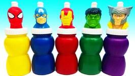 Learn Colors Superheros Bottles Wet Surprise Toys Kids - Nursery Rhymes Super Hero