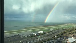 Rainbow Appears Over Lake Erie After Storm Hits Cleveland