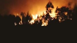 Wildfires Seen by Night From Motorway Near Vagos, Portugal