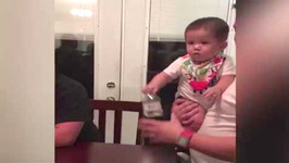 Baby Crushes Water Bottle Challenge