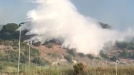 Aerial Firefighters Douse Messina Wildfires